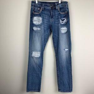 Miss Me Boyfriend Ankle Distressed Lace Jeans 29